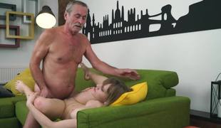 Natural beauty is pounded by a mature swain