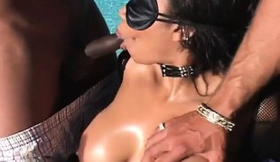 Huge breasted ebony cougar has two dark stallions hammering her holes