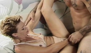 Slim blonde housewife with tiny boobs has wild sex with a young stud