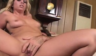 Sexy slender blonde housewife has a stiff cock plowing her needy holes
