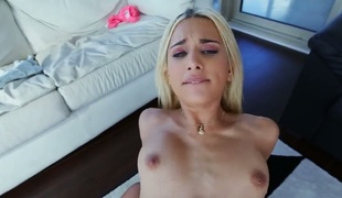 Golden-haired babe gets painted with cum on camera for your viewing entertainment