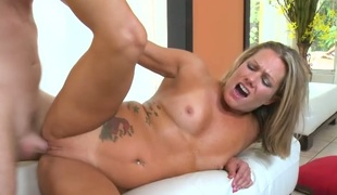 Small titted blonde babe Allura Skye gets pushed well