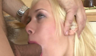 Blonde insatiable babe with pretty lips takes big penis