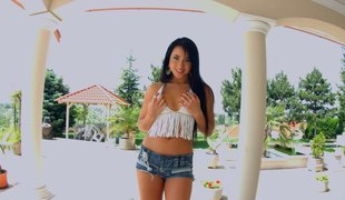 Solo Euro mistresse with beautiful black hair copulates her dildos