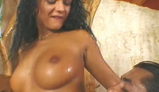 Soaked haired Latina babe can't live without receiving oral and she can't live without sex doggystyle
