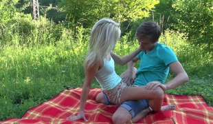 Legal age teenager blonde is all over her boyfriend for hot pleasure outdoors