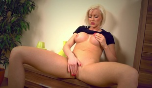 Slim golden-haired honey having enjoyment
