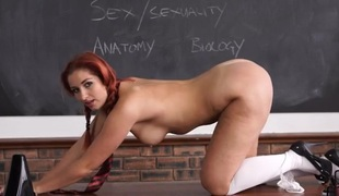 Curvy schoolgirl stripping to blow your mind