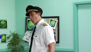 Enticing big boobed blond can't resist handsome pilots