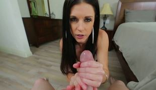 A raven haired bitch is performing a hot blow job to a man