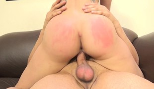 Lustful babe with fabulous large breasts Cali Marie enjoys a hard fucking