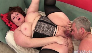 Plump and lustful Julie loves to work her pussy lips on a hard prick