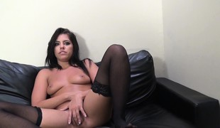 Attractive brunette hair in stockings Adriana Chechik enjoys a Latino cock