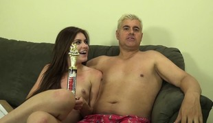 Emma Stoned indulges in a hot session of intense drilling on the sofa