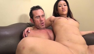 Exotic angel Silky Amber takes a throbbing pole for an exciting ride