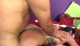 2 delicious brunettes getting drilled deep side by side on the ottoman