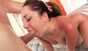 Sensuous young babe Remy indulges in anal invasion and moans with joy