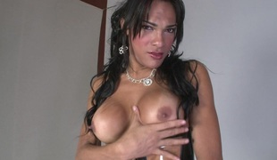 Curvy shemale with worthy tits in hawt underware jerks off