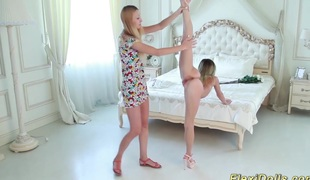 Cute real flexible skinny teen doll receives bizarre stretched by her girlfriend