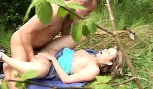 Kissing and fucking in the forest with a beautiful legal age teenager