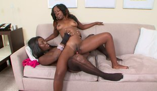 Pair of ebony hotties Coco and Xena are having a great time with a toy