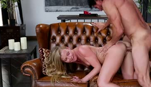 Brutal hubby fucks leggy petite wifey Nicole Clitman on leather bed tough
