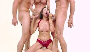 Crazy bukakke and blowbang for naughty hottie Melissa Moore