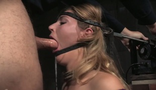 BBC fucks unfathomable throat of lustful chick Mona Wales in the black room