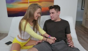 Charming blonde girl Lily Ford gives really amazing oral pleasure