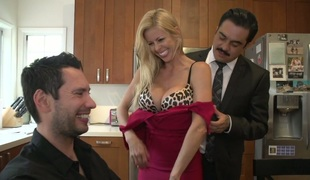 Stunning MILF with fake melons Alexis Fawx drilled in the kitchen