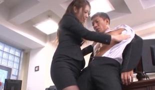 Charming Asian secretary Ayu Sakurai pleases her impressive boss