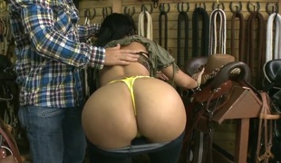 Natasha shows her huge milk shakes and her bubble booty to the shop owner