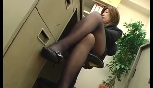 Office Women Footjob In Pantyhose