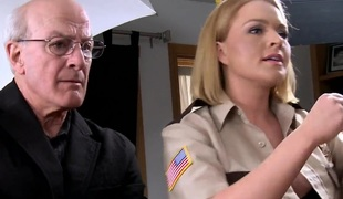 Sexy blonde babe officer Krissy receives team-fucked