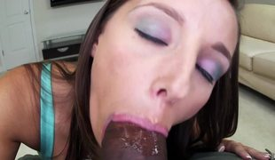 Charming harlot is seen sucking a large black wang and getting laid