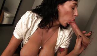 Alia Janine takes on a long dick at a gloryhole
