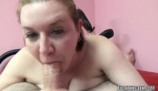 Breasty housewife Sinful Skye is swallowing some dick