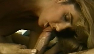 Horny blonde latches onto a big dick with her mouth and fucks it