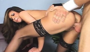 Luscious brunette milf in lingerie seduces and fucks her hung employee