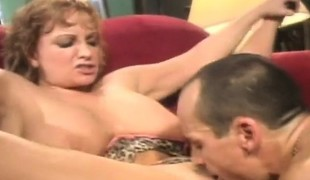 Horny aged woman flashes her big hooters and enjoys a unfathomable drilling
