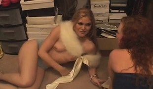 2 beauties walk in on a couple fucking and join in on the fun with anal
