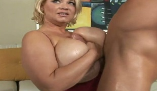 Golden-haired Samantha 38g needs Billy Glides love stick in her mouth desperately and acquires it