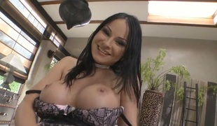 Abbie Cat with gigantic breasts is good at fucking and her hard dicked group-sex buddy Rocco Siffredi knows it