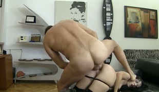 Isabella Clark warms Rocco Siffredi up and takes his snake in her ass after she takes it deep down her throat