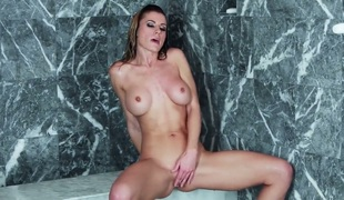 Pretty tart Randy Moore with massive marangos and smooth cookie has some time to jerk off her wet hole
