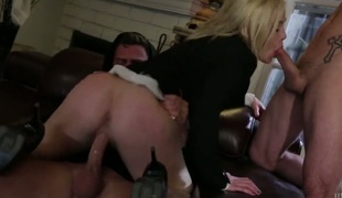 Blond is giving a blow job