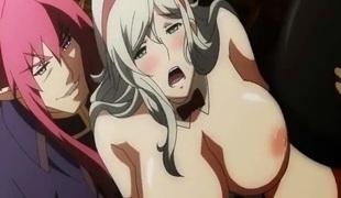 Bigboobs anime maid banged and cummed allbody