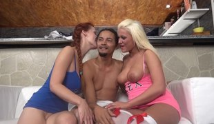 Couple of horny white girls have a 3some with a black fellow