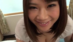 Big natural Japanese breasts are beautiful in a POV orall-service video