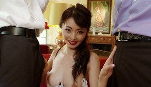 Asian blows one as well as the other the stiff dicks that DP her tight holes